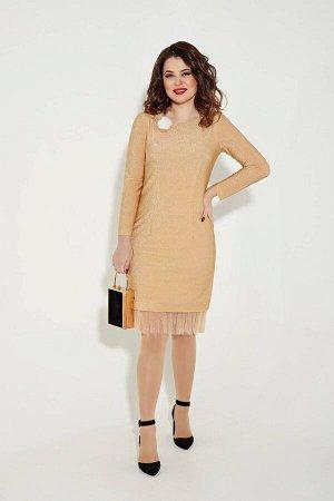 Платье Платье Angelina & Company  258  Состав ткани: Вискоза-60%; ПЭ-26%; Эластан-7%; Люрекс-7%;  Рост: 164 см.  Ослепительно сверкающее платье из модной ткани, которое превосходно подойдет для новог