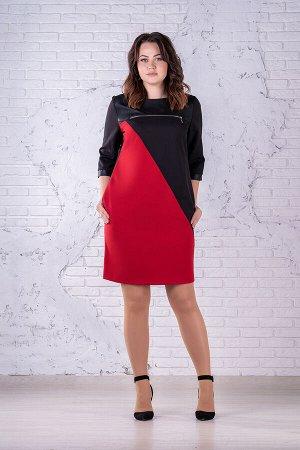 Платье Платье Angelina & Company  261 черный/красный  Состав ткани: Вискоза-60%; ПЭ-37%; Лайкра-3%;  Рост: 164 см.  Платье женское прямого силуэта. Перед с нагруыми вытачками. Кокетка по переду, из э