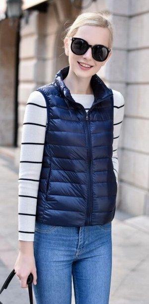 Женский ультралегкий жилет, цвет темно-синий нави