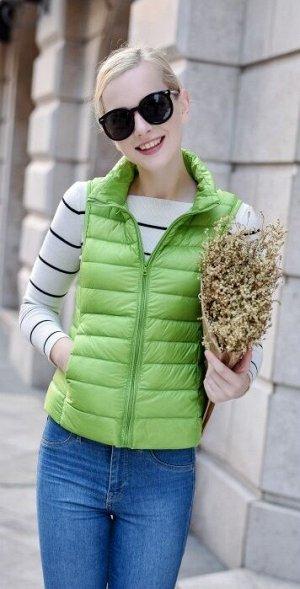 Женский ультралегкий жилет, цвет зеленый