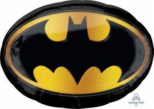 "1207-2763 Шар-фигура, фольга, ""Бэтмен. Эмблема"" (AN), 35""/89 см х 26""/66 см, инд. уп."