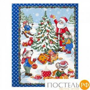 """Полотенце 45х60, КУПОН, вафельное полотно, 100 % хлопок, """"Новогодние каникулы (синий)"""""""