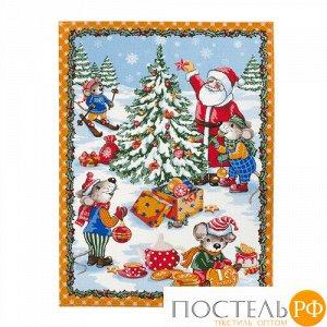 """Полотенце 45х60, КУПОН, вафельное полотно, 100 % хлопок, """"Новогодние каникулы (оранжевый)"""""""