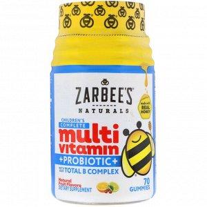 Zarbee&#x27 - s, Children&#x27 - s Complete Multivitamin + Probiotic, Natural Fruit Flavors, 70 Gummies