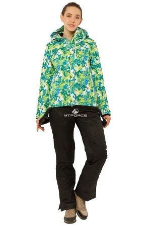 Женский зимний костюм горнолыжный зеленого цвета 01787Z