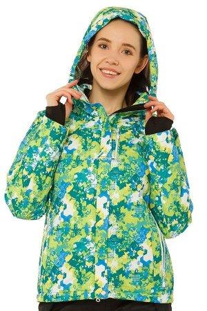 Женская зимняя горнолыжная куртка зеленого цвета 1787Z