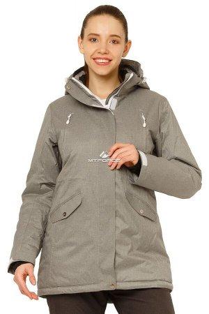 Женская зимняя горнолыжная куртка большого размера серого цвета 1783Sr