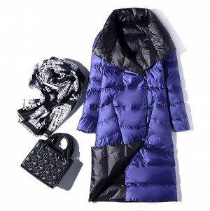 Женское ДВУХСТОРОННЕЕ ультралегкое пальто, цвет черный/серый, цвет синий/т.синий