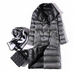 Женское ДВУХСТОРОННЕЕ ультралегкое пальто, цвет черный/серый