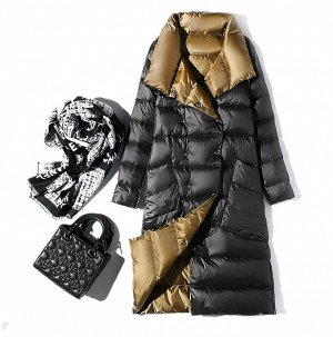 Женское ДВУХСТОРОННЕЕ ультралегкое пальто, цвет черный/серый, цвет золото/черный