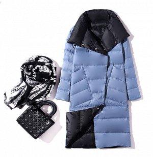 Женское ДВУХСТОРОННЕЕ ультралегкое пальто, цвет черный/серый, цвет синий/черный