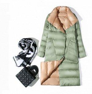 Женское ДВУХСТОРОННЕЕ ультралегкое пальто, цвет черный/серый, цвет зеленый/шампанское