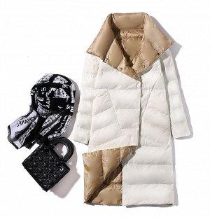 Женское ДВУХСТОРОННЕЕ ультралегкое пальто, цвет черный/серый, цвет белый/бежевый