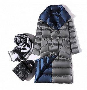 Женское ДВУХСТОРОННЕЕ ультралегкое пальто, цвет черный/серый, цвет т.синий/серебро