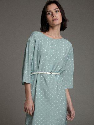 Платье мятное в горошек EMKA