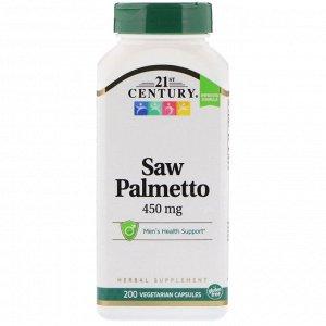 21st Century, Saw Palmetto, 450 мг, 200 растительных капсул