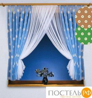 7137 шторы кухня Ромашки, (145*170)*2+(140*170)*2, голубой
