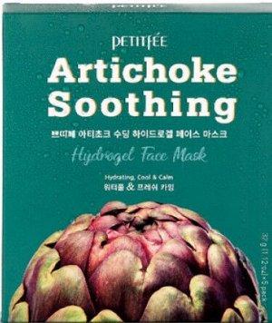 Petitfee Artichoke Soothing Face Mask, Гидрогелевая успокаивающая маска для лица с экстрактом артишока 32 г