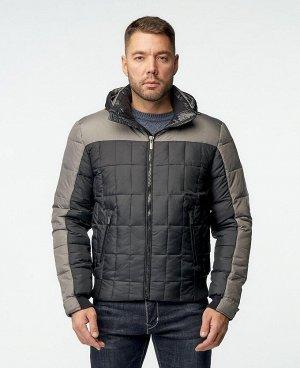 . Черный; Темно-синий / Темно-серый; Синий;   Пуховик мужской 57265  Два наружных кармана, три внутренних кармана на молниях, трикотажная отделка воротника, отстегивающийся капюшон, трикотажный м