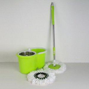 Набор для уборки: швабра, ведро с металлической центрифугой 14 л, запасная насадка из микрофибры, дозатор, колёсики, цвет МИКС
