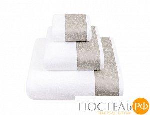 """Полотенце с вышивкой  """"CASTELLO"""" ТМ """"BOVI"""" 100% хлопок, 550г/м2  р-р: 50 x 100см, цвет:  белый/серо-бежевый"""