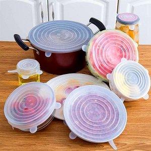 Набор силиконовых пленок с ушками – 6 круглых пищевых крышек разного размера для сохранения свежести продуктов