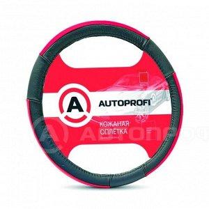 """Чехол на руль """"AUTOPROFI"""" AP-678BK/RD (L) натуральная кожа, 3 цветные вставки, черный/красный"""