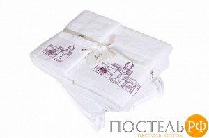 Полотенце с вышивкой 'ОТ КУТЮР' р-р: 30 x 50см, цвет: белый/розовый