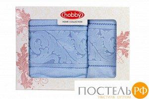 """H0000428 Махровое полотенце в коробке 50x90+70x140 """"SULTAN"""", голубой, 100% Хлопок"""
