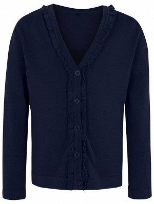 Кофта Girls Navy Ruffle Front School Cardigan 140 (10-11).