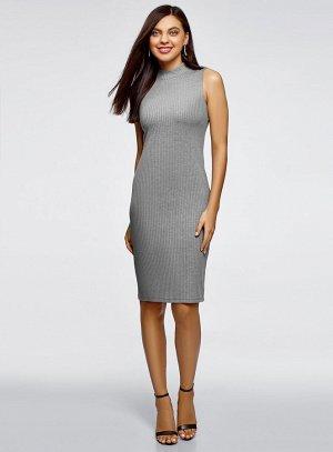 Платье в рубчик с воротником-стойкой Oodji