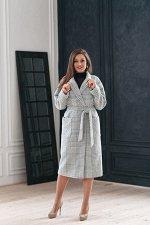 Пальто женское демисезонное 20550  (серый/клетка)