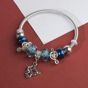 """Браслет ассорти """"Марджери"""" бабочка, цвет синий в серебре"""