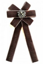 Брошь - галстук из бархата коричневый