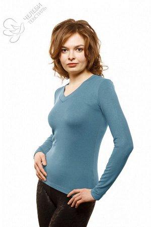 Джемпер Джемпер женский с V-образной горловиной и длинным рукавом. Выполнен из гладкокрашенной ткани (рибана). Состав — 95% вискоза, 5% лайкра Плотность — 330 г/м2