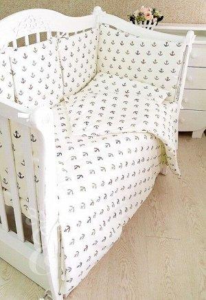 Набор сатиновый в детскую кроватку Якоря 495