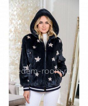 Короткая куртка из плюшевой черной норки  - бомбер с капюшономАртикул: 2582-2-65-U