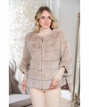 Пончо - куртка на молнии с капюшоном из кроликаАртикул: 525-1-70-BG-KR