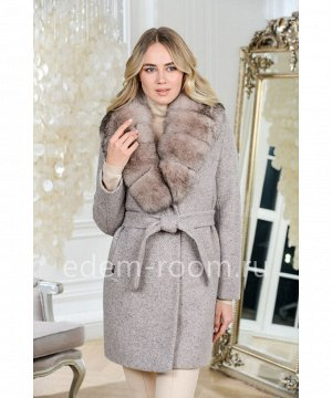 Шерстяное пальто с мехом песцаАртикул: AR-1863-85-MR-P