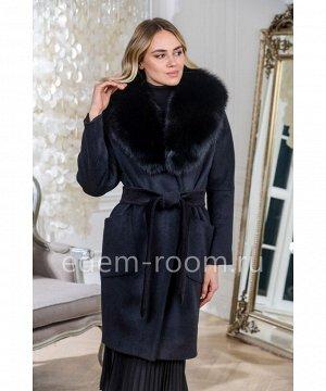 Чёрное пальто с мехом для зимыАртикул: AR-120-100-CH-P