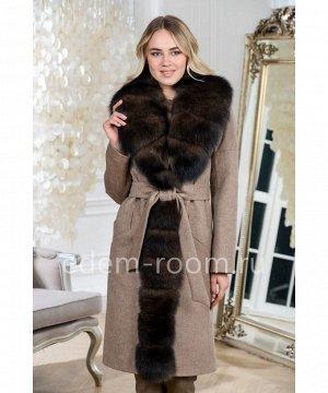 Утепленное пальто с мехом песцаАртикул: AR-183-105-KP-P