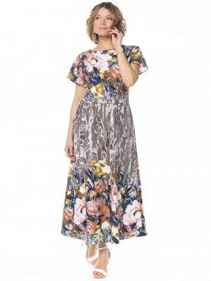 Платье Летнее платье для повседневной носки, длиной до щиколотки, из хлопкового полотна с цветочной набивкой купоном. Полуприлегающего силуэта, свободного кроя, с коротким цельнокроеным рукавом и окру