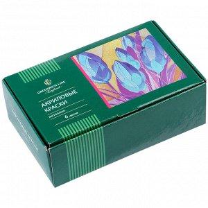 Краски акриловые Greenwich Line, 06 цветов, металлик, 20мл, картон