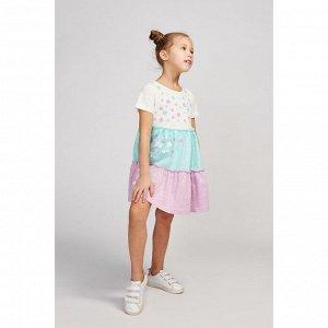 Платье для девочки, цвет молочный/бирюзовый/сиреневый, рост 92 см (52)