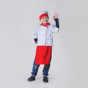 """Детский карнавальный костюм """"Повар"""", колпак, куртка, фартук, косынка, 4-6 лет, рост 110-122 см"""