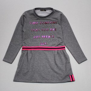 Платье Интересное подростковое платье на каждый день: - из плотного футера (отлично держит форму и хорошо носится) - есть боковые кармашки - яркая контрастная полоса-нашивка на талии Особая изюминка -