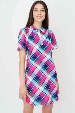 #90164 Платье-рубашка бирюзово-розовый