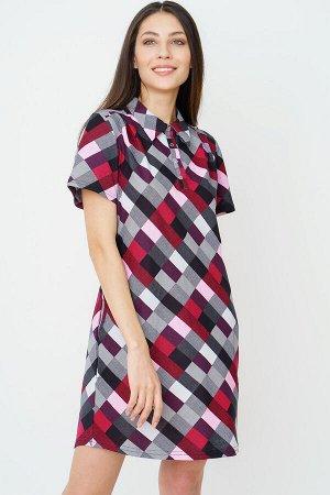 #90166 Платье-рубашка черно-бордовый