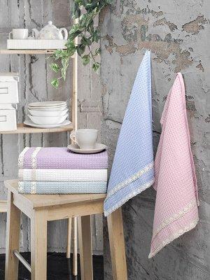"""Кухонные вафельные полотенца """"karna"""" c гипюром kopenaki 40x60 см 1/5"""