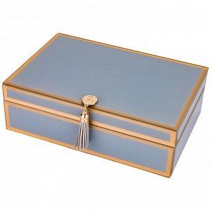 """Шкатулка коллекция """"гламур"""" с кисточкой цвет:серая дымка  24,5*16,5*8 см (кор=8шт.)"""